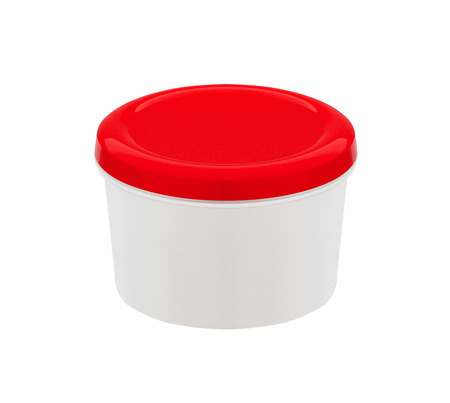 hermetic: food container with red plastic lid isolated on white background
