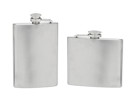 insulated drink container: Stainless hip flask isolated on a white background