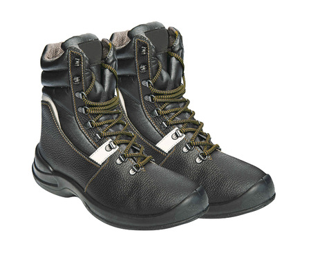 steel toe boots: The high black leather boots