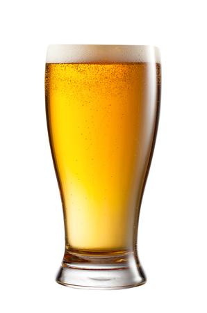 un bottled: a glass of light beer