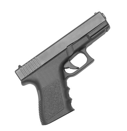 hand gun: automatic hand gun on white background