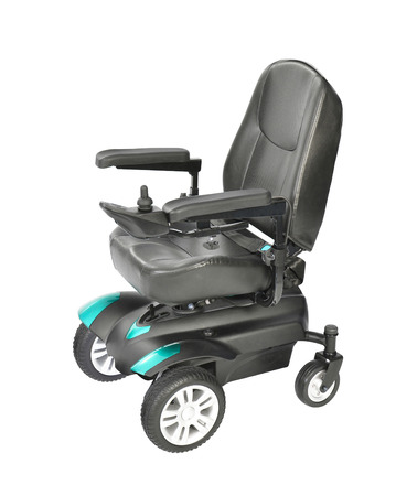 silla de ruedas aislado en blanco Foto de archivo