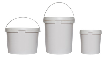Three white plastic buckets Banque d'images