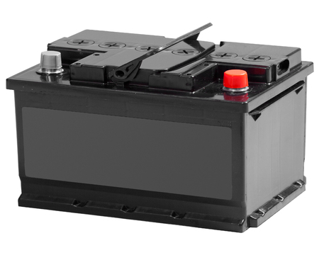 bateria: acumulador aislado en blanco