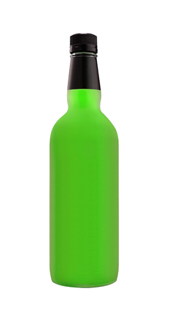 dew cap: beer in a green bottle isolated on a white background Stock Photo