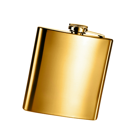 hip flask: Stainless hip flask isolated on a white background