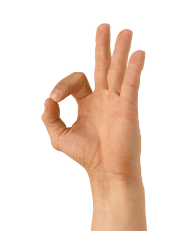at sign: hand sign Stock Photo