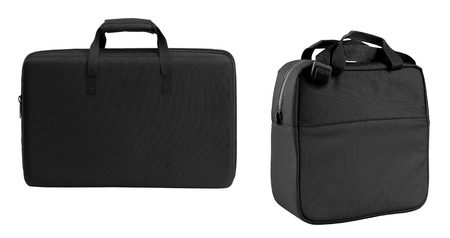 vanity bag: black bags Stock Photo