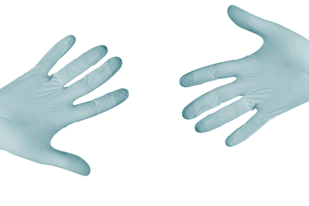 surgical gloves: blue surgical gloves Stock Photo