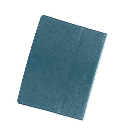 folio: blue leather folio case for tablet Stock Photo