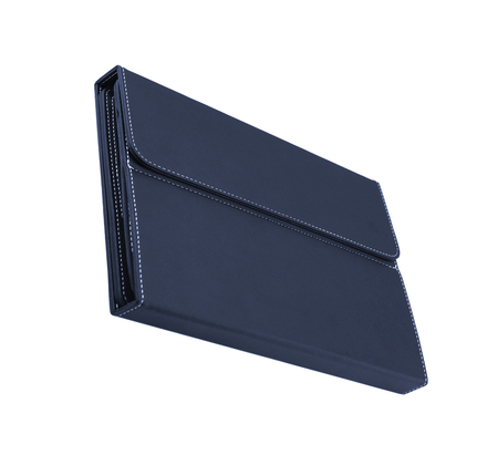 folio: blue leather folio case for tablet isolated on white Stock Photo