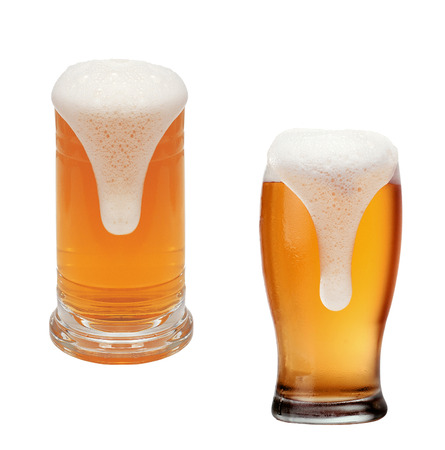 un bottled: Glasses of beer isolated on a white