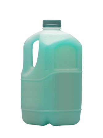 purge: Blue liquid for car in canister isolated on white