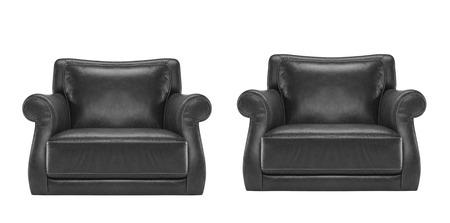 antique chair: antique black leather chair Stock Photo