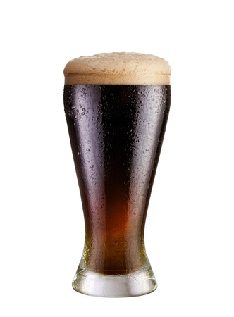 glass of dark beer isolated on white
