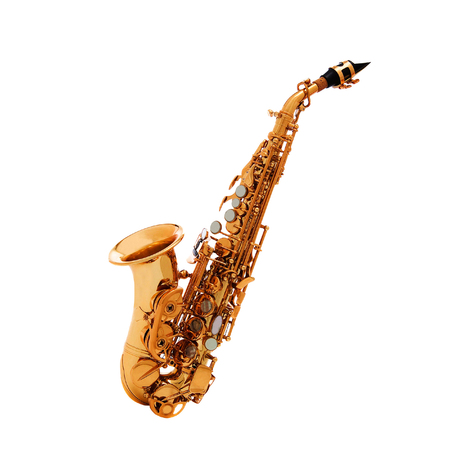 woodwind: Saxophone - Golden alto saxophone classical instrument isolated on white
