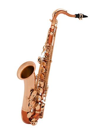 soprano saxophone: Saxofón aislado en fondo blanco Foto de archivo
