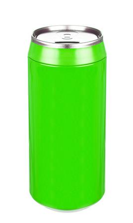 lata de refresco: Aluminio lata de refresco verde Foto de archivo