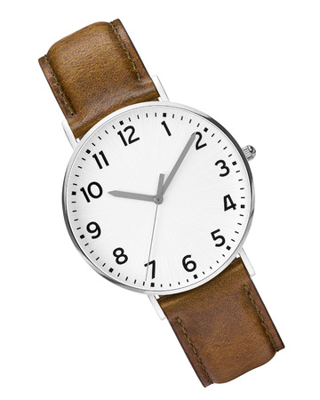 watch: leather expensive and modern watch isolated