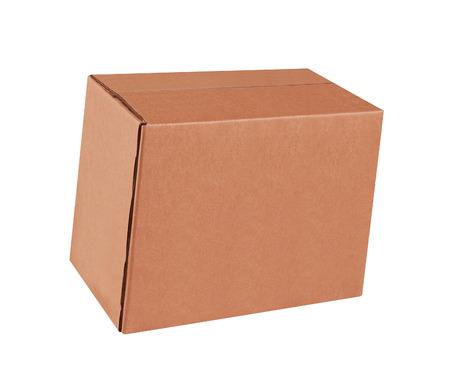 shipped: Cardboard box on white background