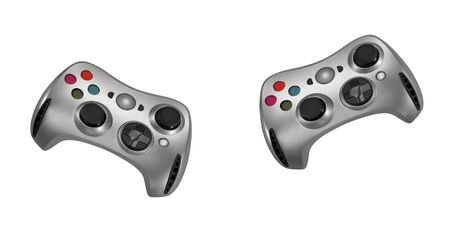gamepads on white background