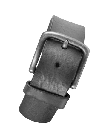sew tags: leather belt isolated on white Stock Photo
