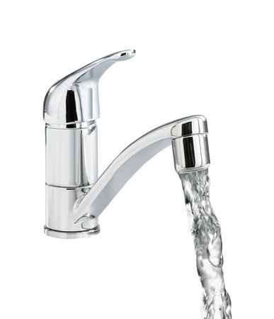 kitchensink: Closeup of water-supply faucet Stock Photo