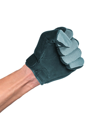 geste: A hand in a leather glove making a shooting gesturing, isolated on white background Stock Photo