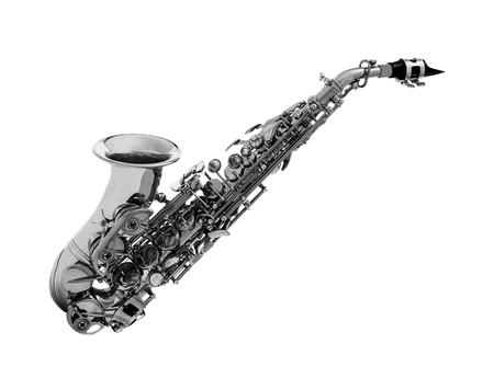 soprano saxophone: saxofón clásico aislado en blanco Foto de archivo
