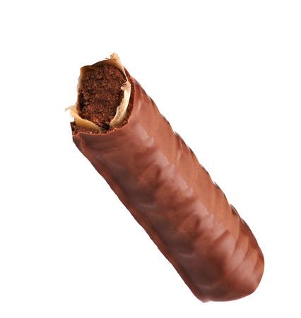 splitting up: Caramel Chocolate Bar On White Background Stock Photo