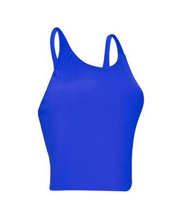 blue sleeveless sports shirt isolated on white