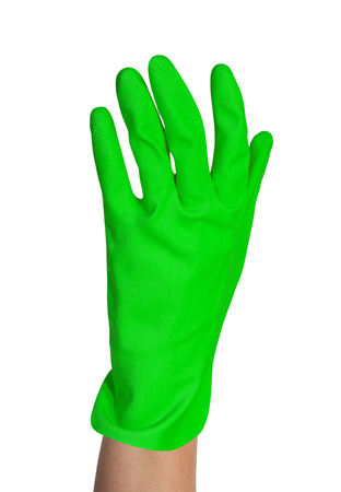 homemaker: protective rubber glove on white background