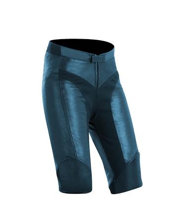 nether: black leather shorts on a white background Stock Photo