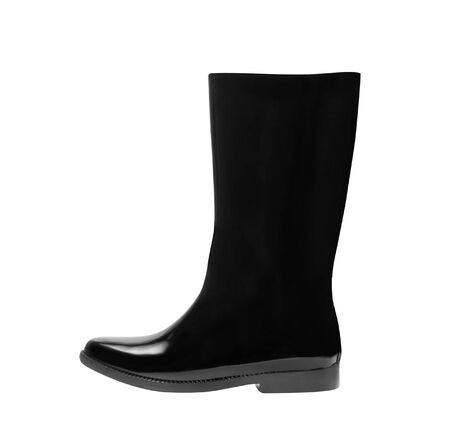 gum boots: Black gum boots on white background