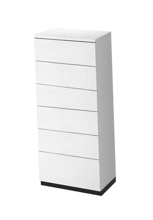 White wooden drawers cabinet isolated