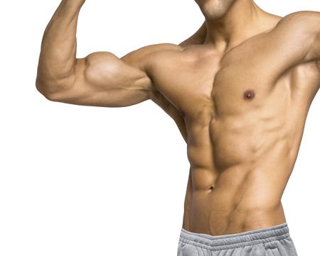 mans upper body isolated on white background