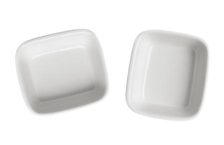 Empty plates isolated on white background