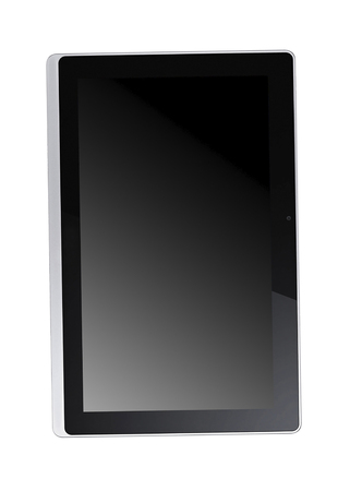 Modern black tablet isolated on white background Фото со стока