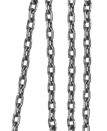 connected flexible series of metal links close up