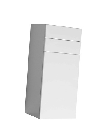White wooden chest of drawers isolated 免版税图像 - 106129864
