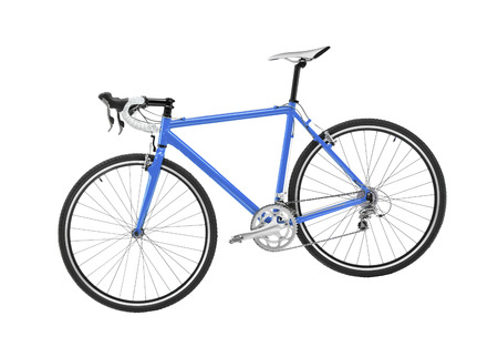 blue sport bicycle on white background
