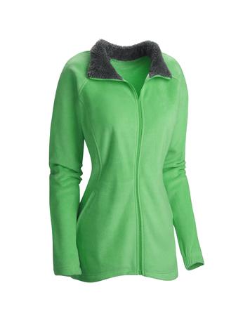 Green winter jacket isolated on white background
