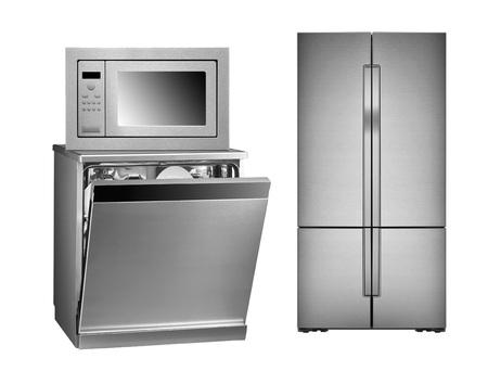 refrigerator, oven and dishwasher isolated on white background