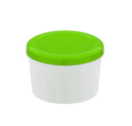 food container with green plastic lid isolated on white background Banque d'images - 106130365