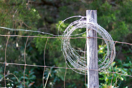 Barbed wire looped around a fenced post