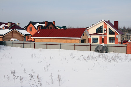 Cottage settlement in winter