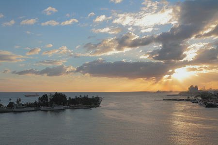 santo domingo: River of Ozama and sea at sunset. Santo Domingo, Dominicana