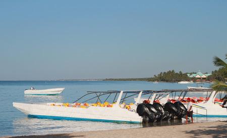 highspeed: High-speed boats. Bayaibe, Dominican Republic Stock Photo