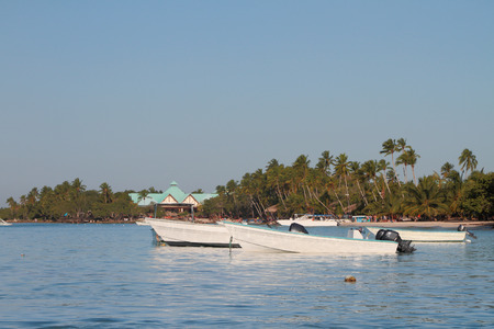 motorboats: Motor-boats on anchor parking. Bayaibe, Dominican Republic Stock Photo