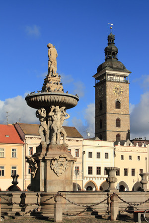 budejovice: Public fountain in square. Ceske Budejovice, Czech Republic Stock Photo